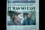 """Tidningsframsida med bild på ett leende par. Text """"It was so easy"""""""