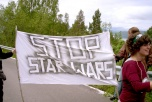 "Demonstration with banner: ""Stop Star Wars"""