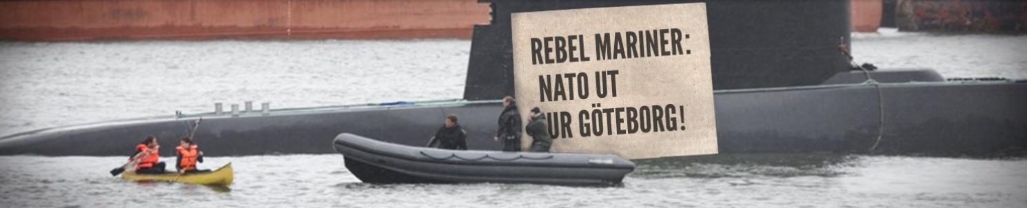 "Natos ubåt möter Ofogs kanot i Göteborgs hamn. ""Nato ut ur Göteborg"""