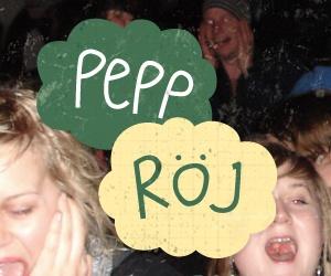 """Skrikande festdeltagare och texten """"Pepp Röj"""""""