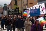 Bild på demonstration i Luleå mot NATO-övning.
