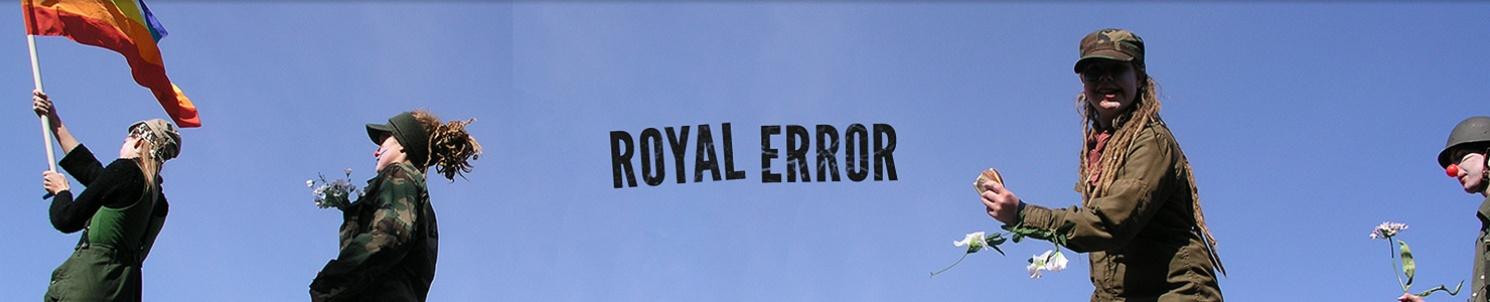 """Fyra clowner och texten """"Royal Error"""""""